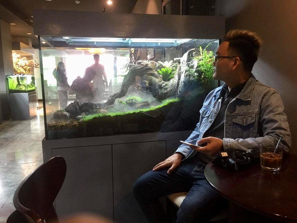 khách hàng ngồi uống cafe ngắm bể thủy sinh