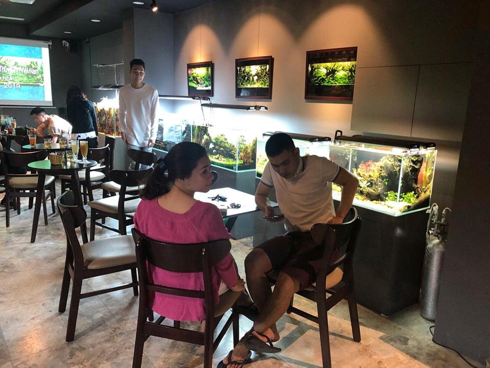 khách hàng ngồi uống cafe ngăm bể cá