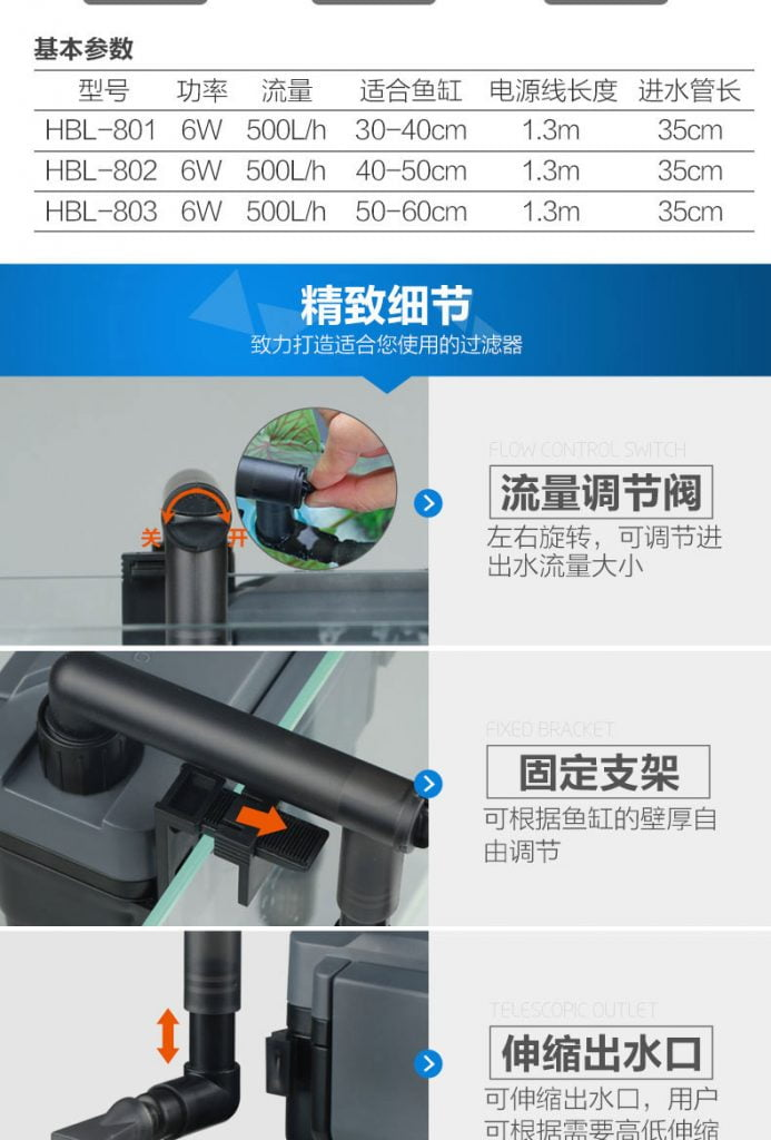 Lọc sunsun HBL 803 cấu tạo