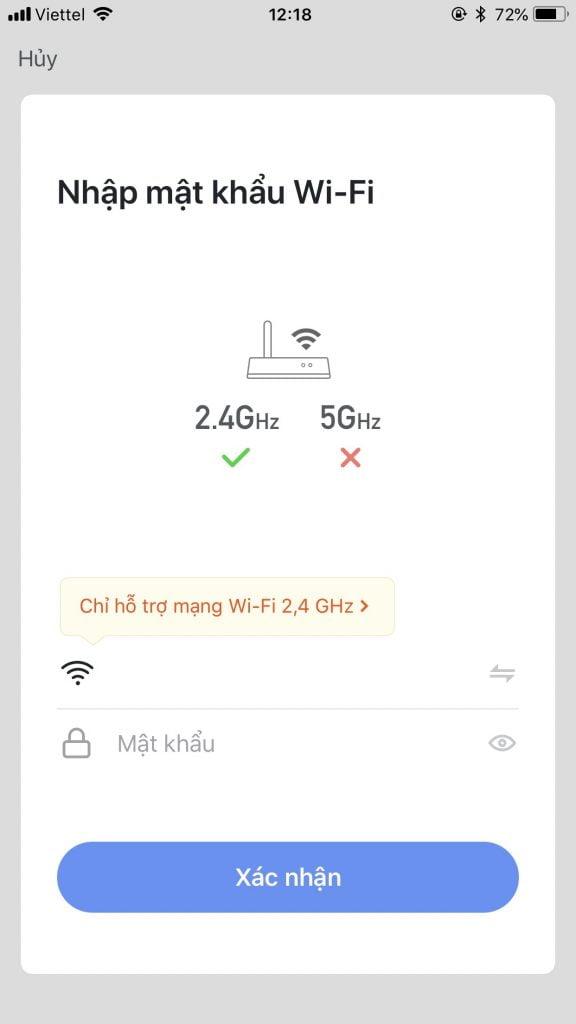 Nhập mật khẩu wifi để kết nối app với thiết bị thông qua wifi